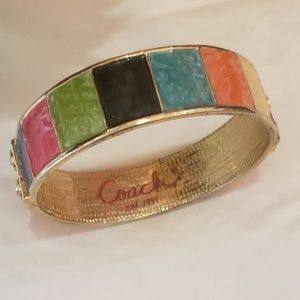 Coach Jewelry - Coach multi colored lacquer on gold bracelet